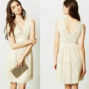 Anthropologie Cream lace Party Dress - Medium